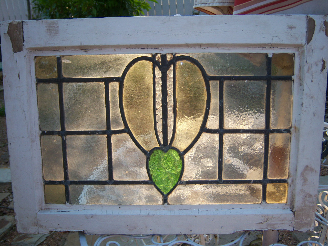 Antique reverse painted stained glass window at 1stdibs.