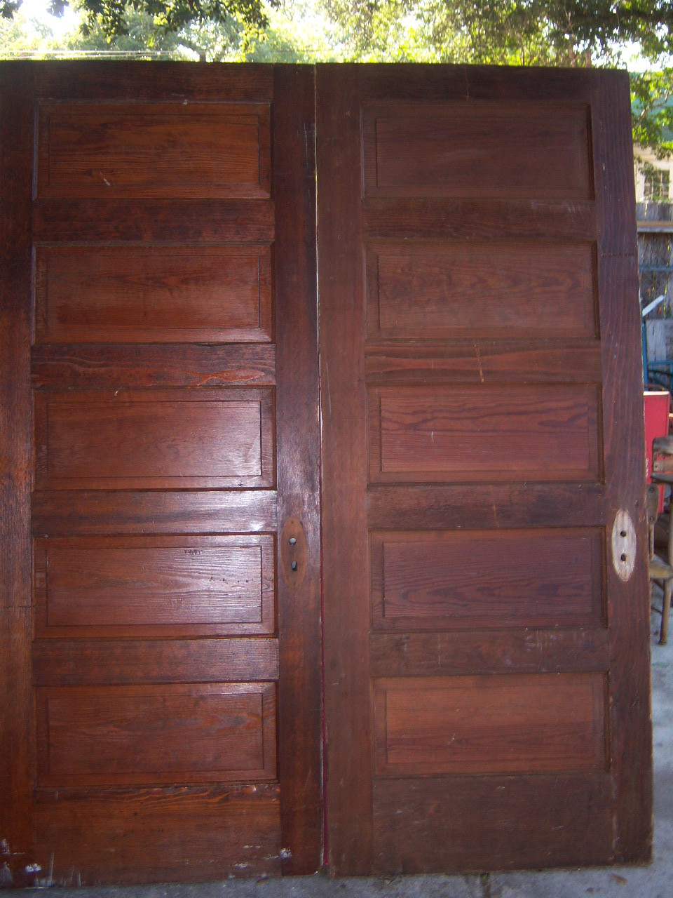 5 Raised Wood Panel Antique Doors In Good Condition ...