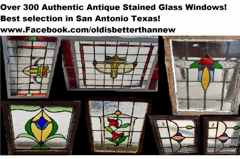 Antique Large Stained Gl Windows
