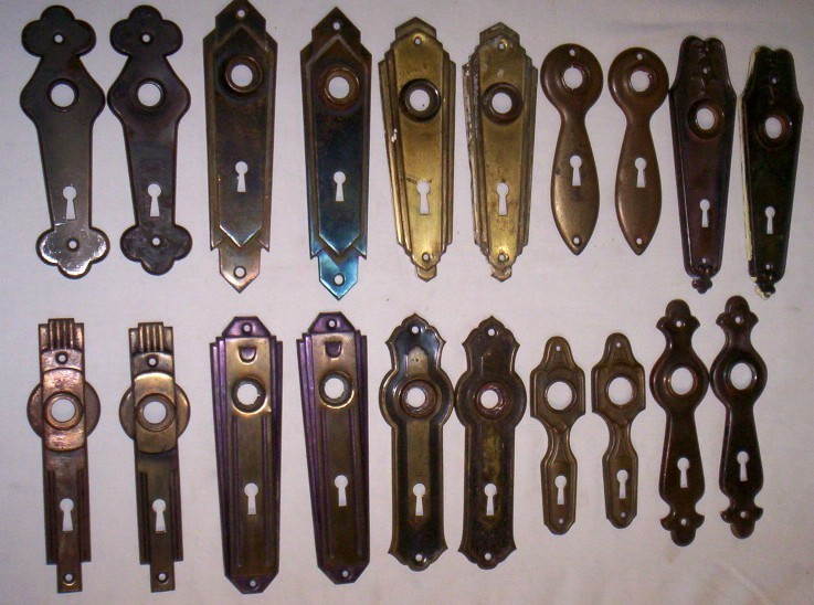 Vintage door plates clean for $35 a pair! Click lower right for Info. - Old Is Better Than New - Antique Hardware From Doors Or Cabinets