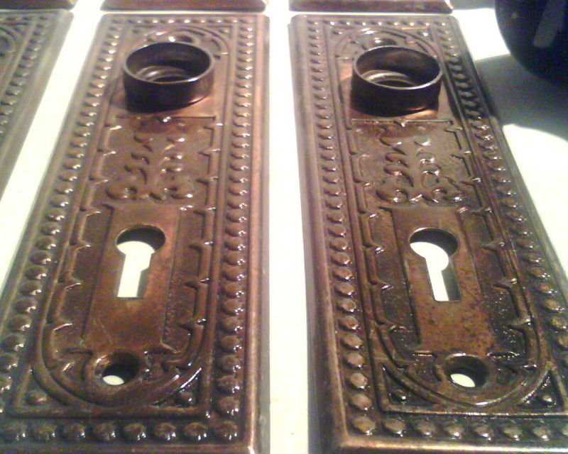 Vintage EastLake Brass door plates refurbish for $50 a pair! Click lower  right for Info ... - Old Is Better Than New - Antique Hardware From Doors Or Cabinets